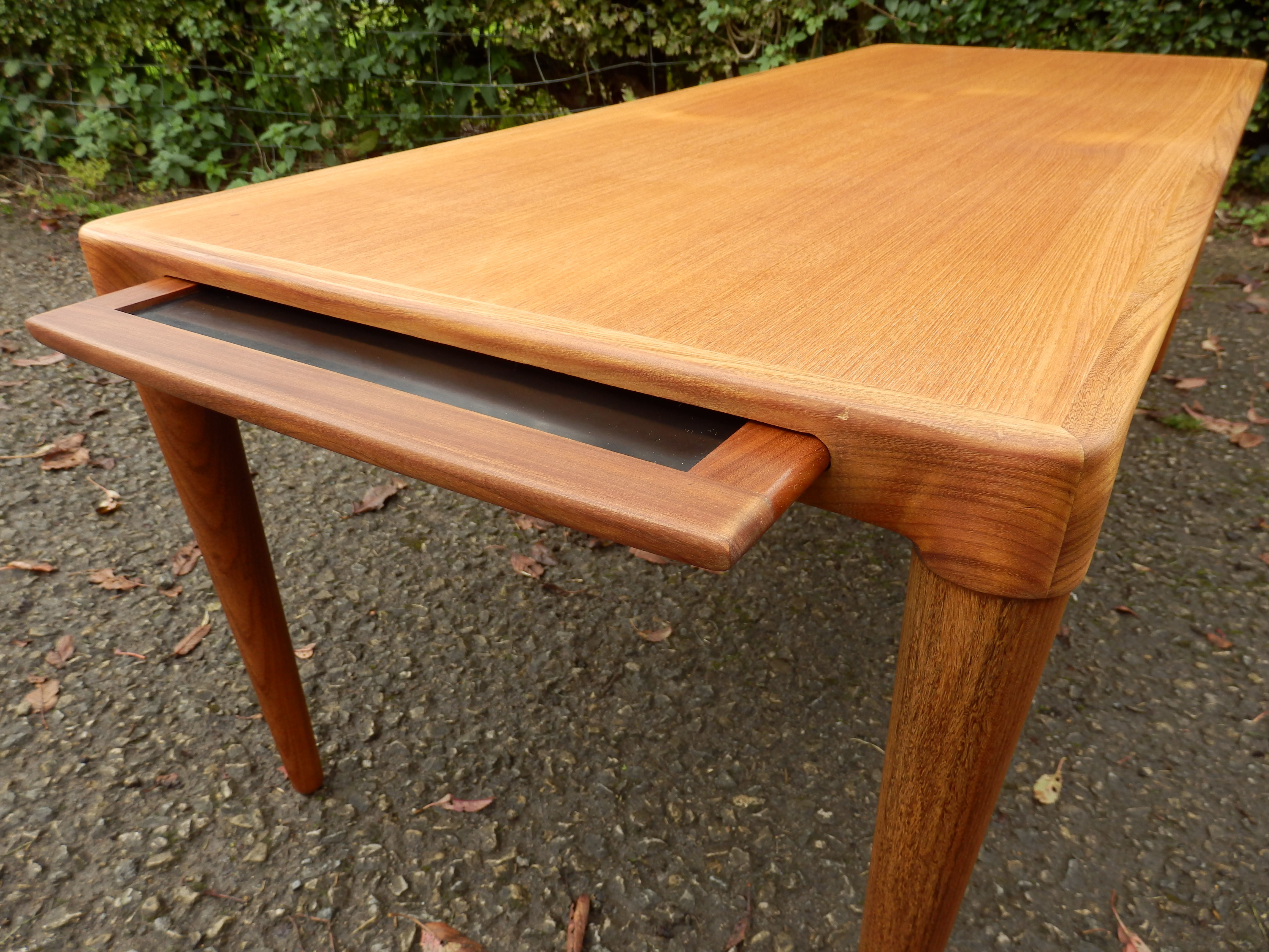 Very Rare Large Teak Coffee Table With Slide Out Drinks Tray Intended For Well Liked Large Teak Coffee Tables (Gallery 11 of 20)