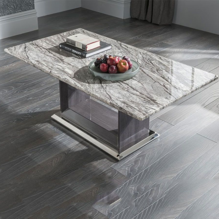 Vida Living Donatella Grey Marble Coffee Table Throughout Well Known 2 Tone Grey And White Marble Coffee Tables (Gallery 16 of 20)
