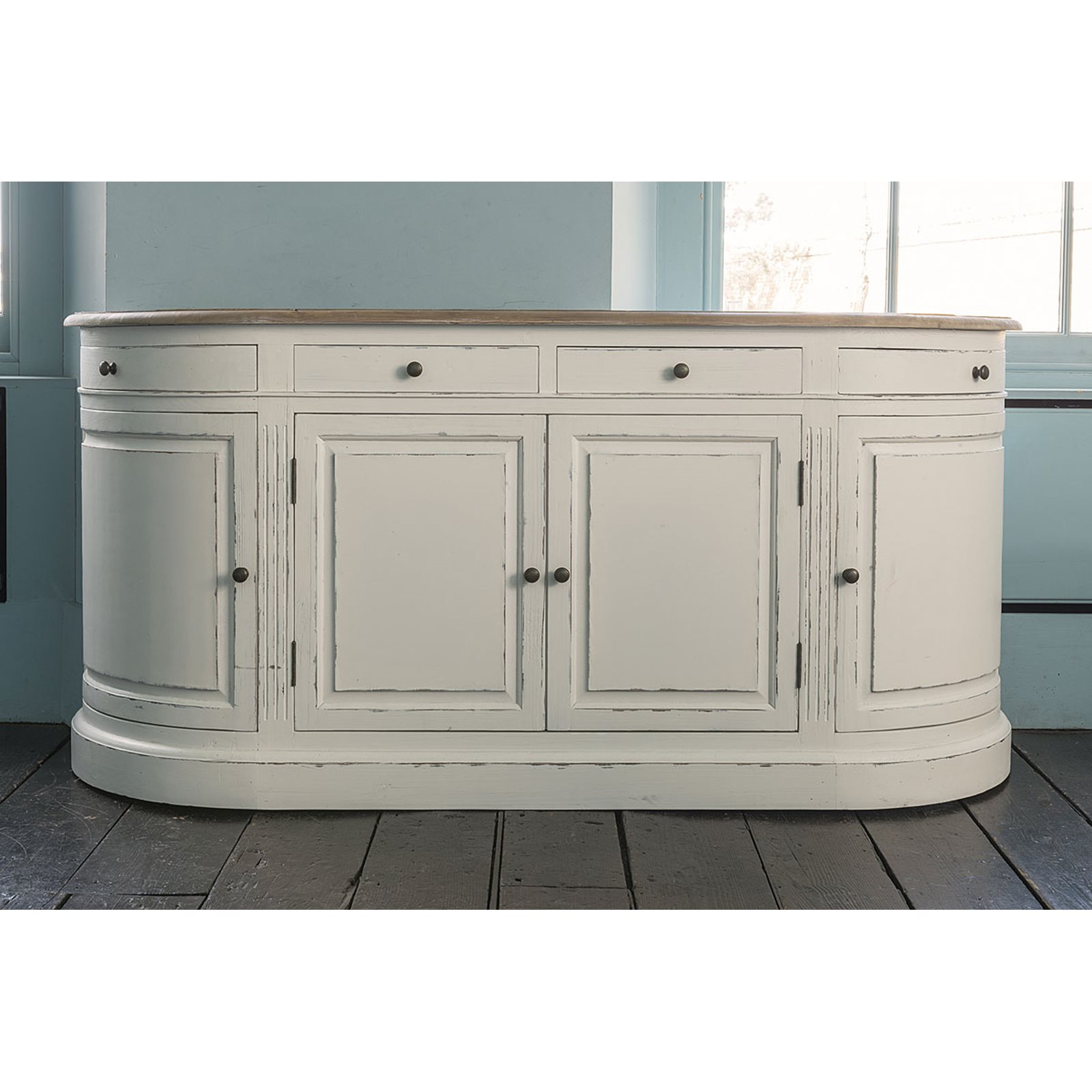 Vintage 8 Glass Sideboards Within Well Liked Vintage White Empire Curved Sideboard (View 17 of 20)