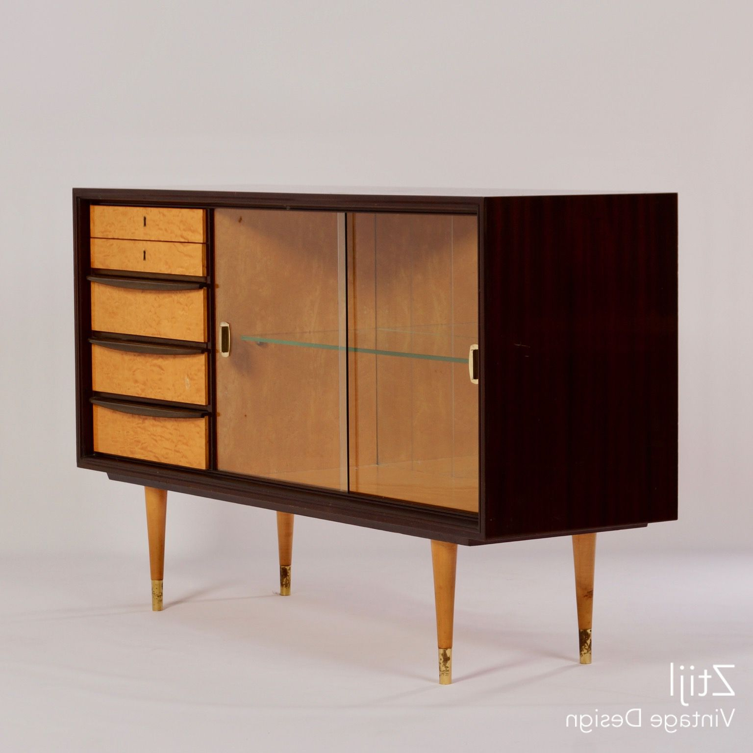 Vintage 8 Glass Sideboards Within Widely Used Mahogany Sideboard With Showcase And Brass Details, 1960s – Vintage (View 1 of 20)
