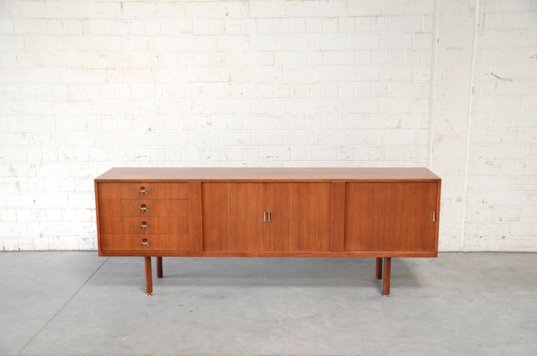 Vintage Danish Teak & Brass Sideboard With Tambour Doors For Sale At Within Favorite Aged Brass Sideboards (Gallery 6 of 20)