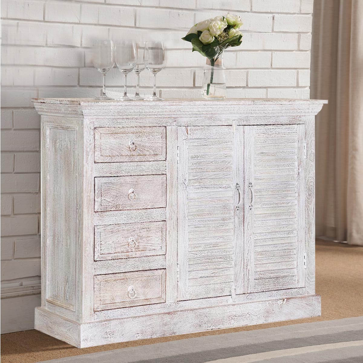 Vintage Finish 4 Door Sideboards With Favorite Ohio Rustic White Weathered Finish 2 Door 4 Drawer Sideboard (View 19 of 20)