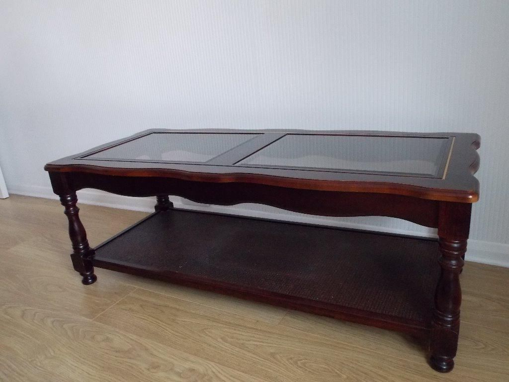 Vintage Glass Coffee Table Old – Thelightlaughed Pertaining To Recent Vintage Wood Coffee Tables (View 14 of 20)