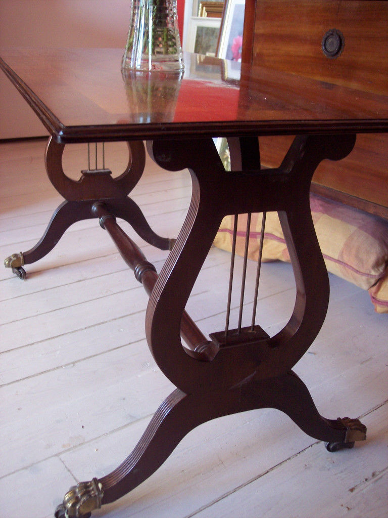 Vintage Retro Mahogany Lyre Pedestal / Base Coffee Table, Occasional Inside Widely Used Lyre Coffee Tables (Gallery 3 of 20)
