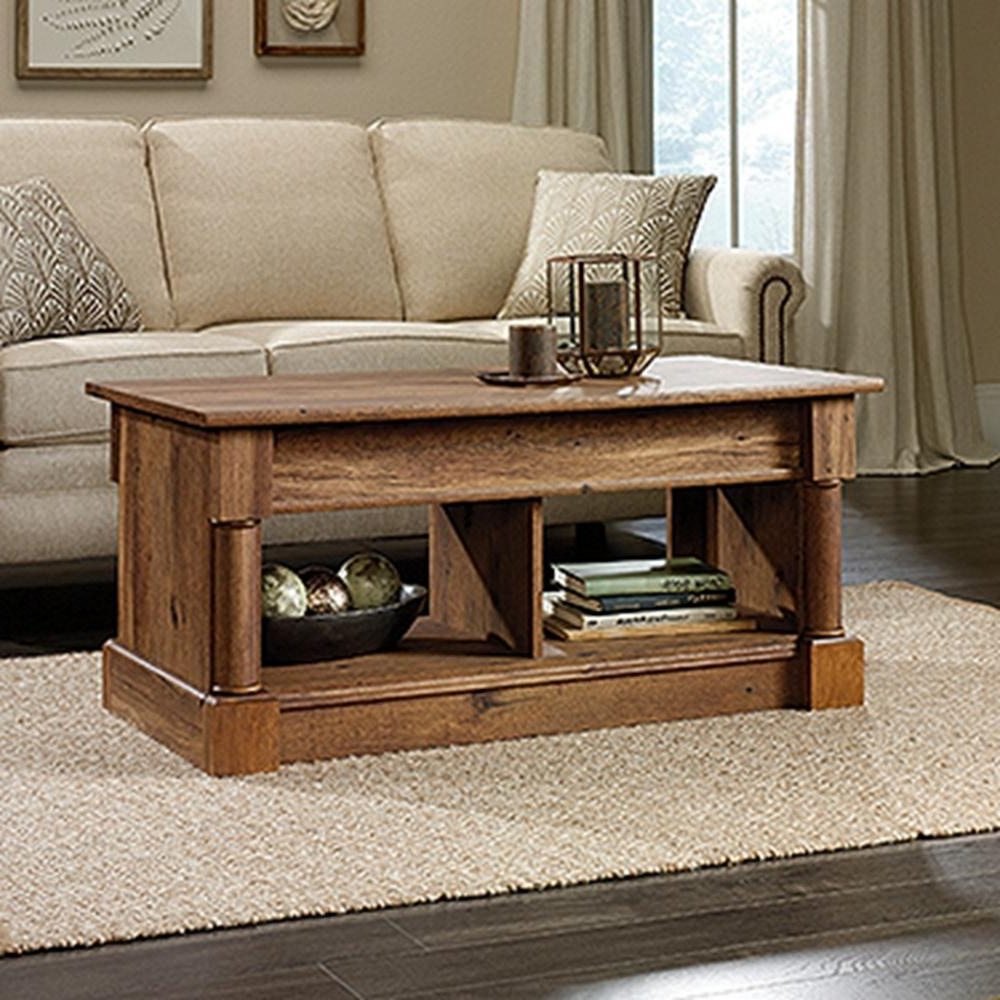 Vintage Wood Coffee Tables Throughout Most Current Sauder Palladia Collection Vintage Oak Lift Top Coffee Table (View 9 of 20)