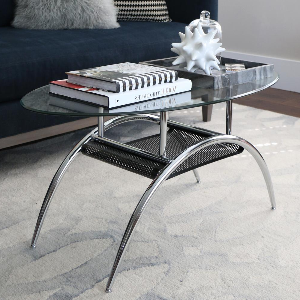 Walker Edison Furniture Company Glass Storage Coffee Table C42Bm Regarding Most Current Contemporary Curves Coffee Tables (Gallery 15 of 20)