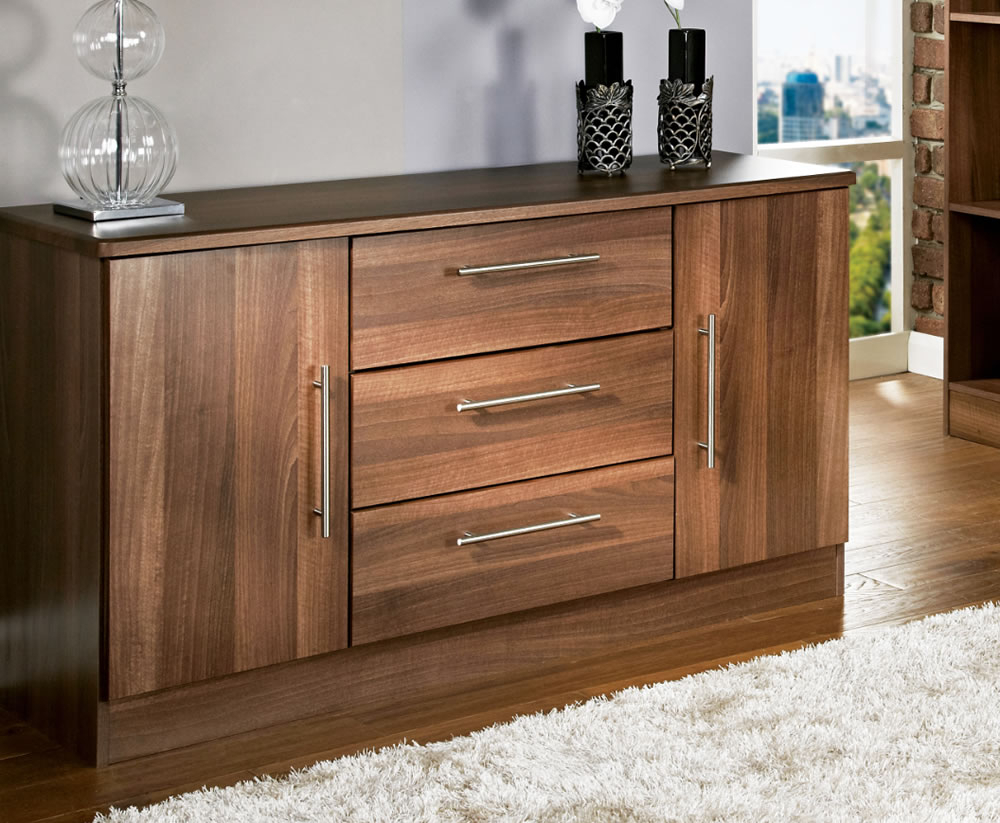 Walnut Finish 2 Door/3 Drawer Sideboards For Current Alora Walnut 2 Door 3 Drawer Sideboards (View 15 of 20)