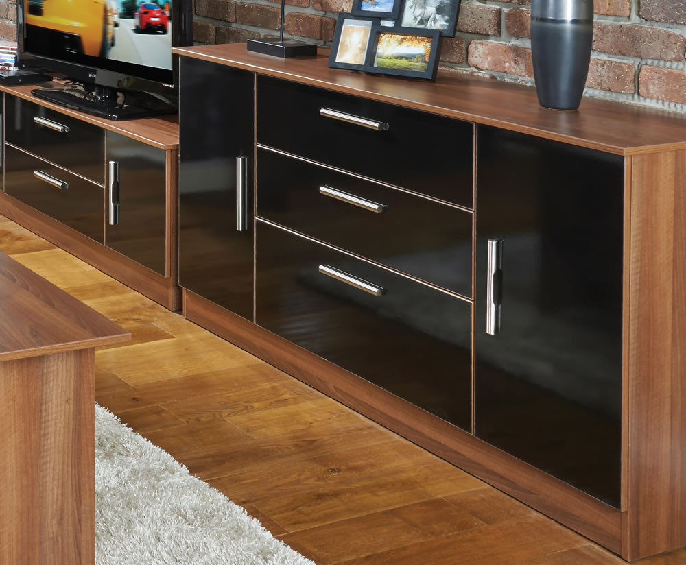 Walnut Finish 2 Door/3 Drawer Sideboards In Well Known Ursula Black And Walnut 2 Door 3 Drawer Sideboards (View 18 of 20)