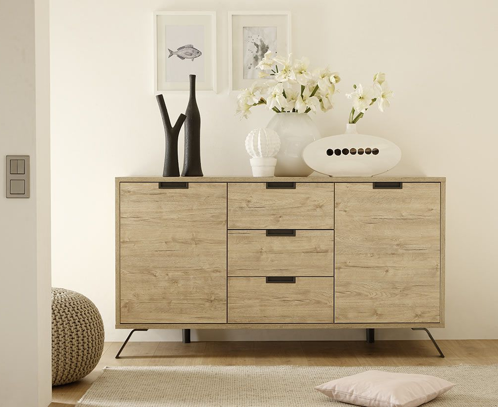 Walnut Finish 2 Door/3 Drawer Sideboards Regarding Well Known Origin Modern Oak 2 Door,3 Drawer Sideboard – Miliboo (View 17 of 20)