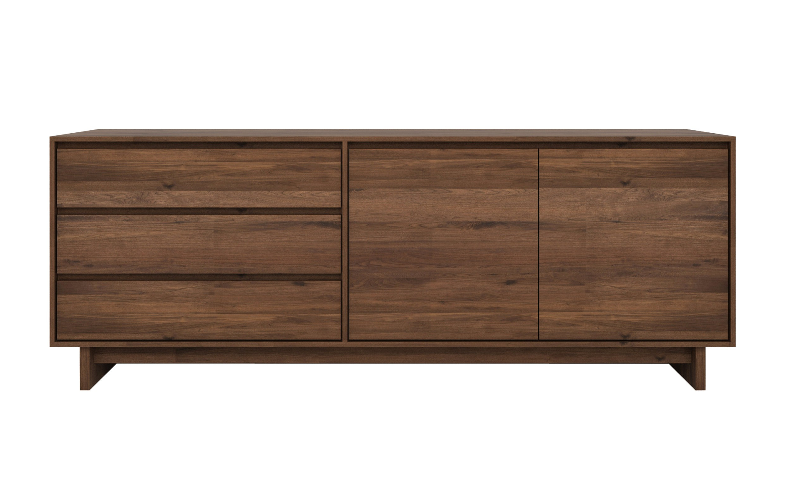Walnut Finish 4 Door Sideboards Throughout Newest Wave Walnut Sideboard (View 17 of 20)