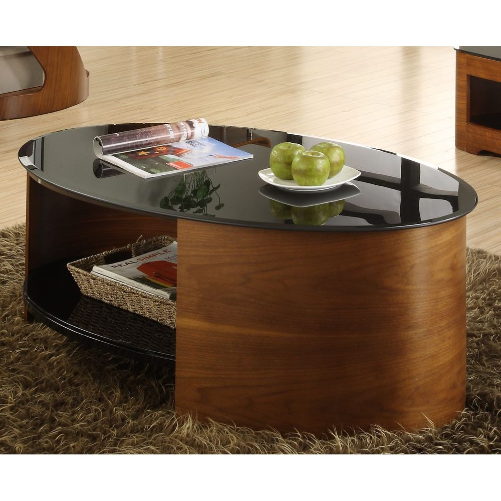 Walnut Oval Coffee Table Modern Unusual Wooden Storage Throughout Popular Contemporary Curves Coffee Tables (View 16 of 20)