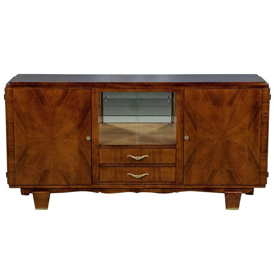 Walnut Starburst Art Deco Buffet For Sale At 1stdibs In Well Liked Starburst 3 Door Sideboards (View 9 of 20)