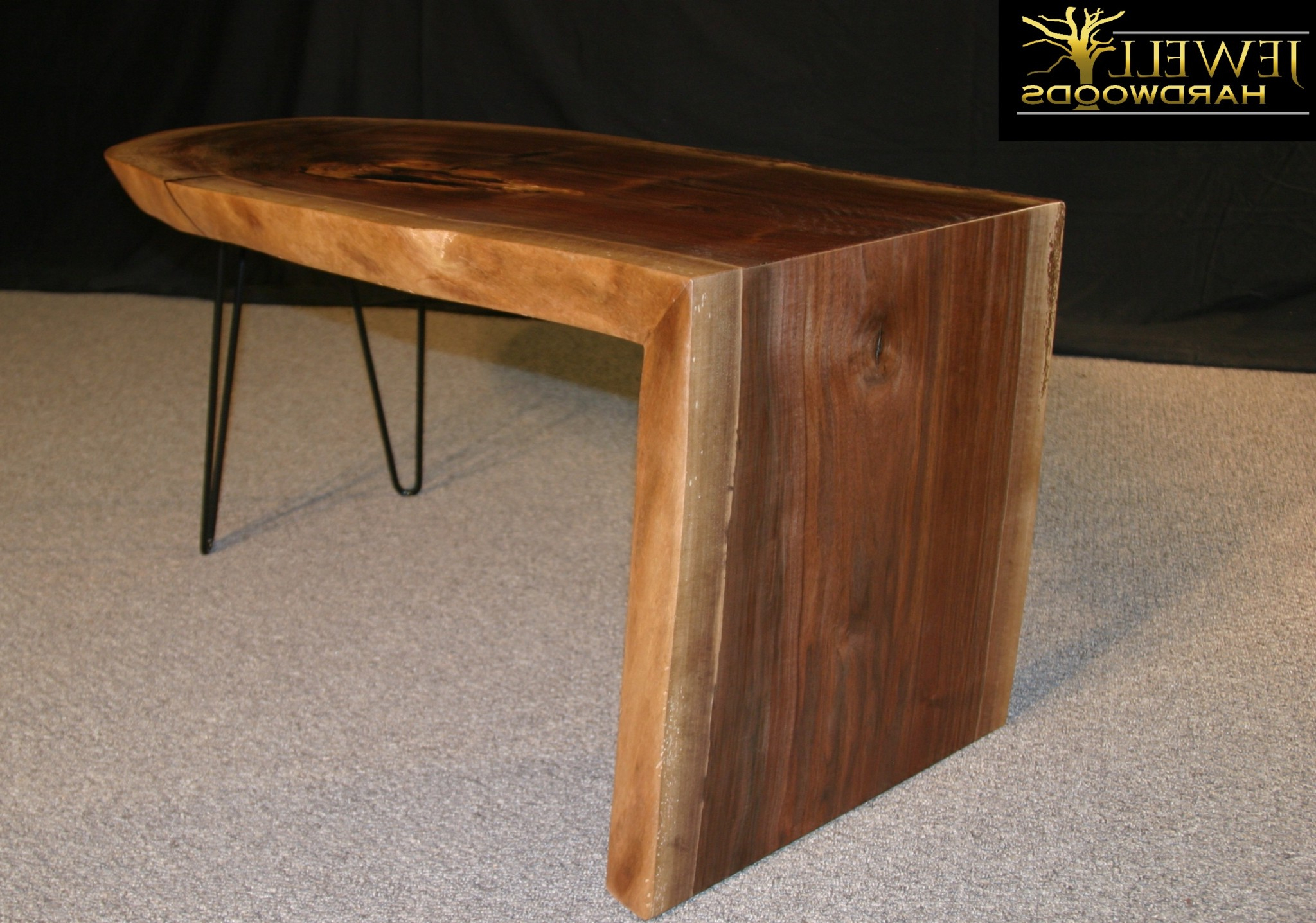 Waterfall Coffee Tables For Trendy Waterfall Coffee Table With Metal Hairpins Jewell Hardwoods Logo (View 16 of 20)