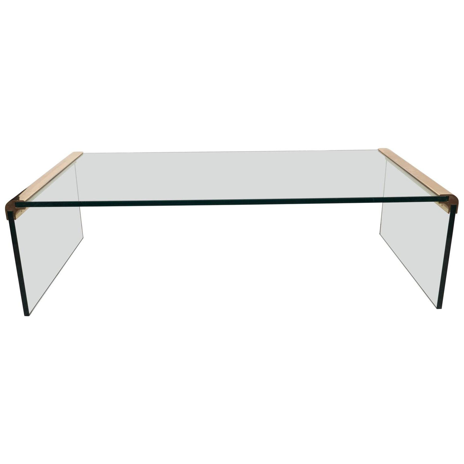 Waterfall Coffee Tables With Regard To 2019 Pace Collection Glass Waterfall Coffee Table With Brass Trim At 1Stdibs (View 17 of 20)