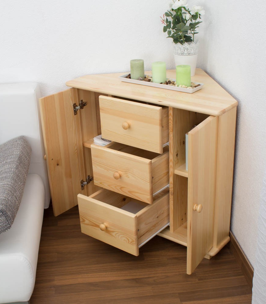 Well Known 3 Drawer/2 Door Sideboards Inside Corner Sideboard, 3 Drawer, 2 Door, Solid Pine Wood, Clearly (View 13 of 20)