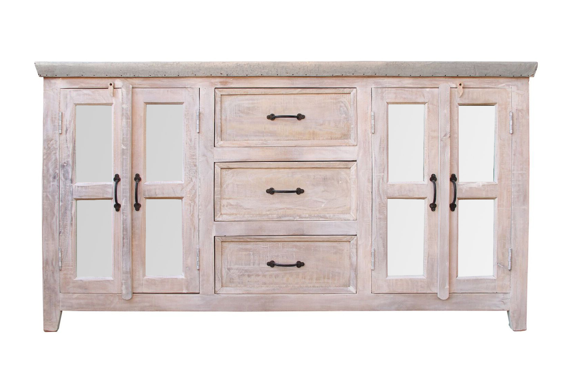 Well Known 4 Door 3 Drawer White Wash Sideboards With Regard To White Wash 4 Door/3 Drawer Glass Sideboard (Gallery 1 of 20)