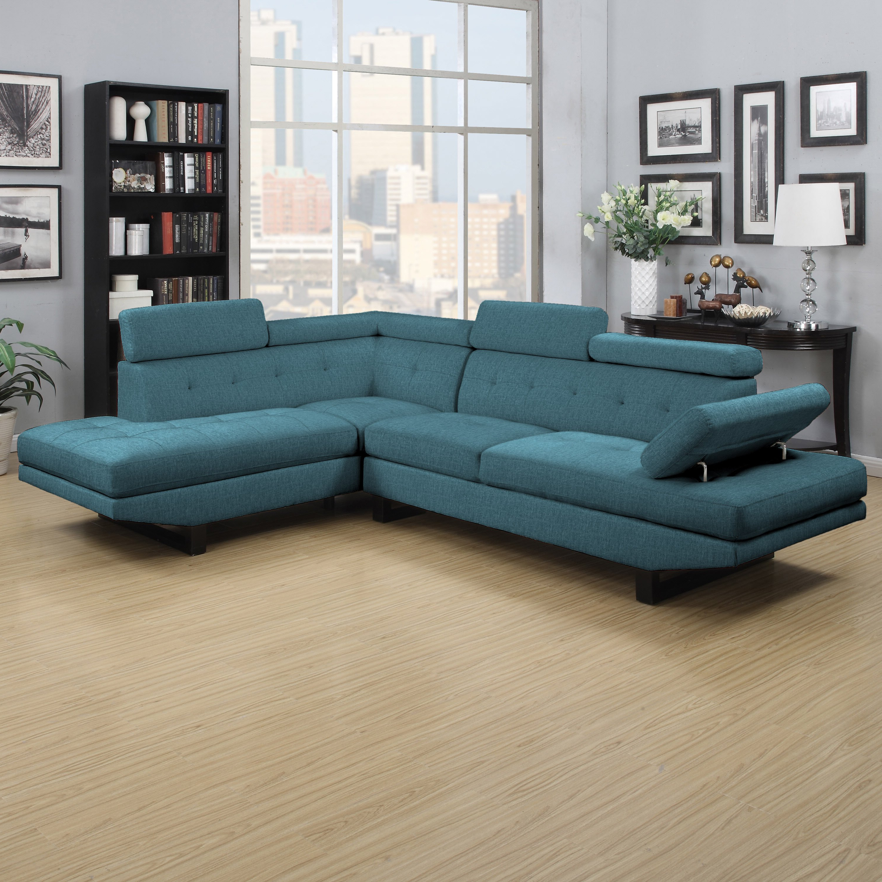 Well Known Alder 4 Piece Sectionals For Shop Clay Alder Home Pope Street Caribbean Blue Linen 2 Piece (View 18 of 20)