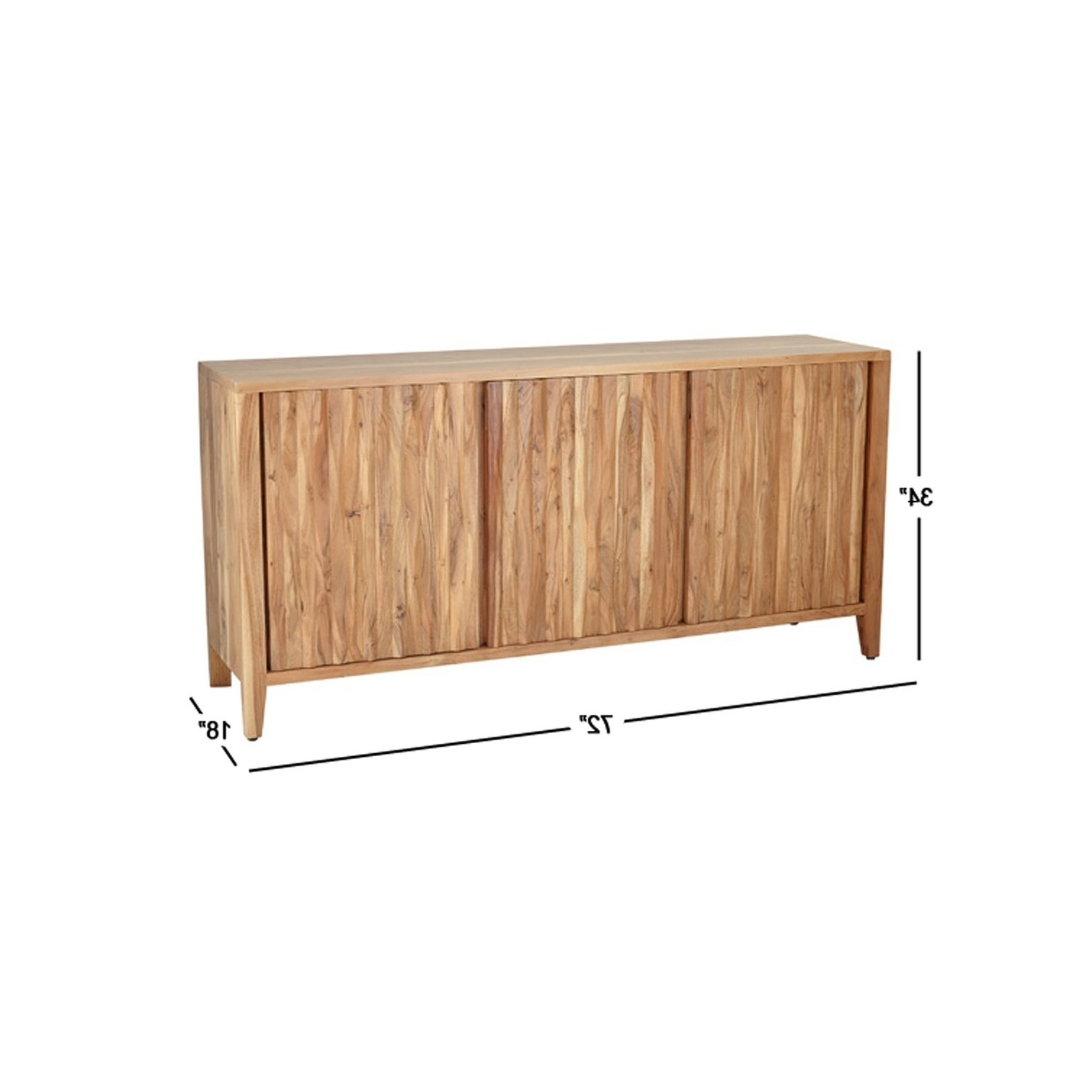 Well Known Brown Wood 72 Inch Sideboards Throughout Shop Rustic 34 X 72 Inch Brown Wooden Three Door Sideboard – On Sale (View 4 of 20)
