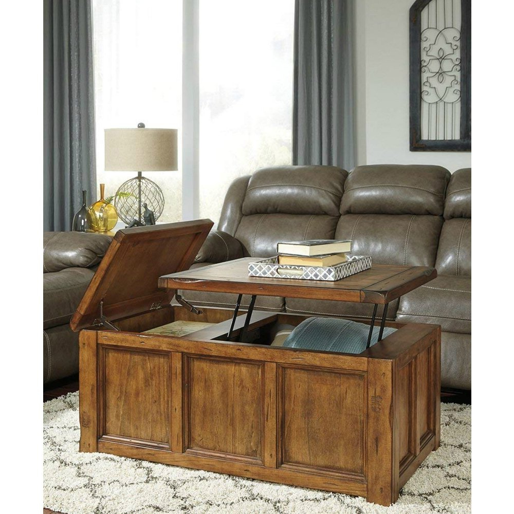 Well Known Chiseled Edge Coffee Tables In Shop Ashley T830 9 Rustic Finish Coffee Table W/ Chiseled Edges (View 3 of 20)