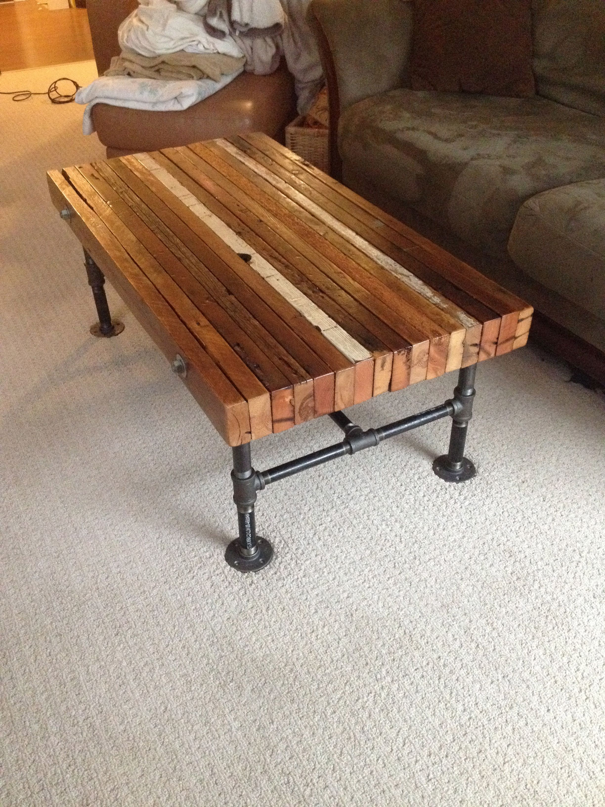 Well Known Coffee Table Made From Old 2x4s And Black Iron Pipe (View 3 of 20)