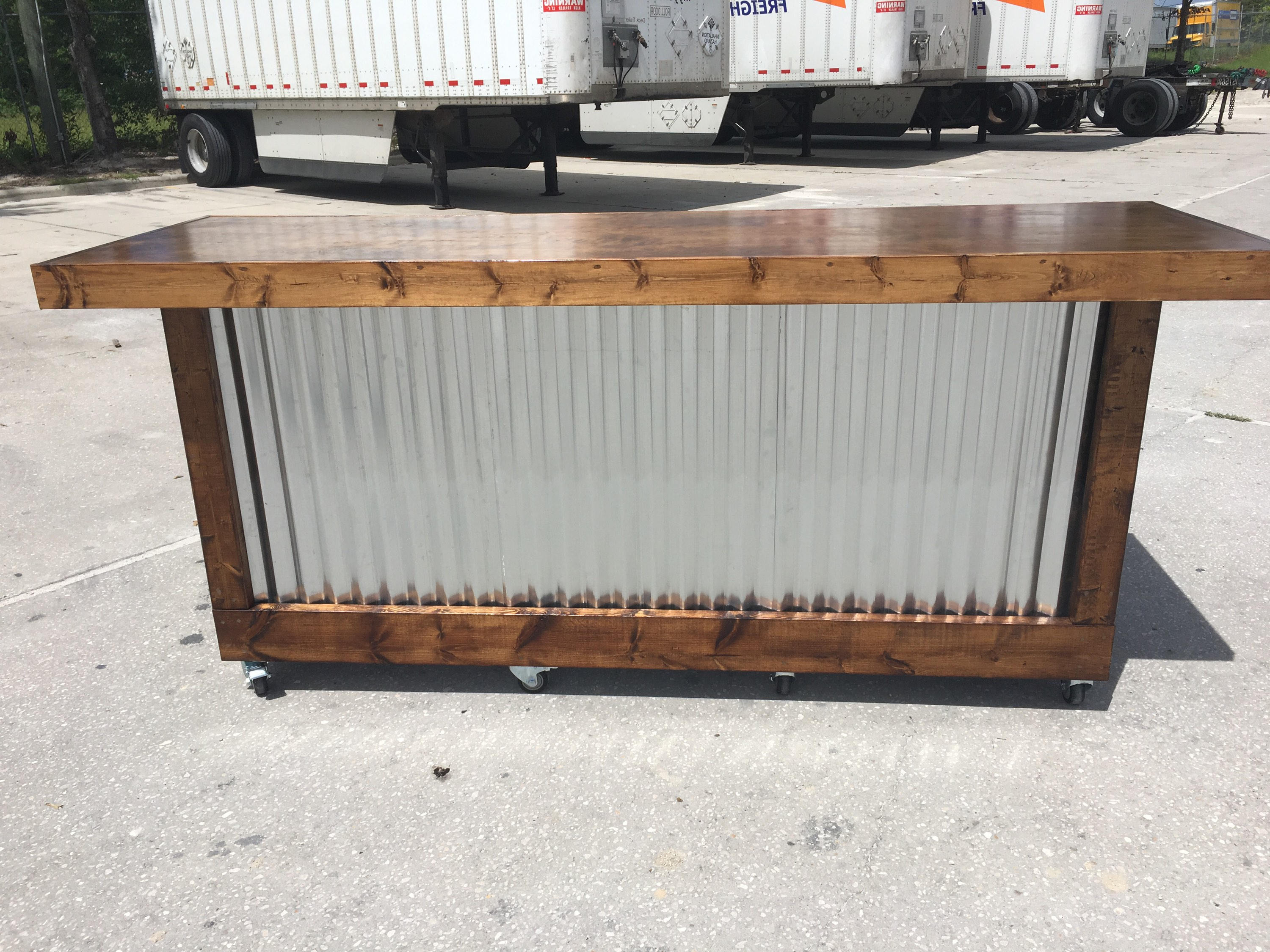 Well Known Corrugated Metal Sideboards Inside The Provincial 8 Foot Mobile Corrugated Metal Bar Sales (View 10 of 20)