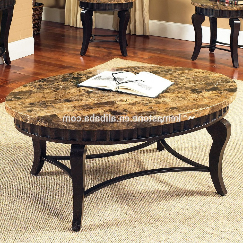 Well Known Emperador Dark Marble Oval Stone Top Coffee Table – Buy Oval Stone In Stone Top Coffee Tables (View 12 of 20)