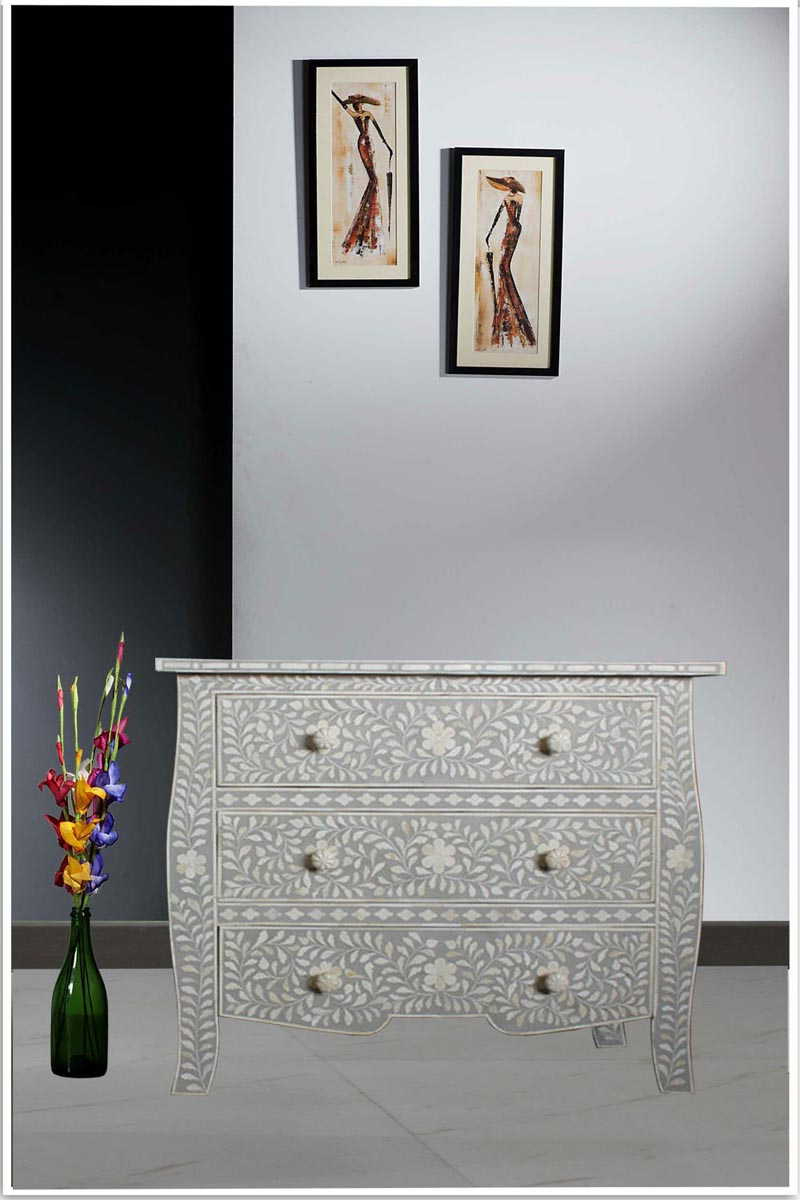 Well Known Geo Pattern Black And White Bone Inlay Sideboards Throughout French Style Light Grey Bone Inlay Three Drawer Chest (Gallery 11 of 20)