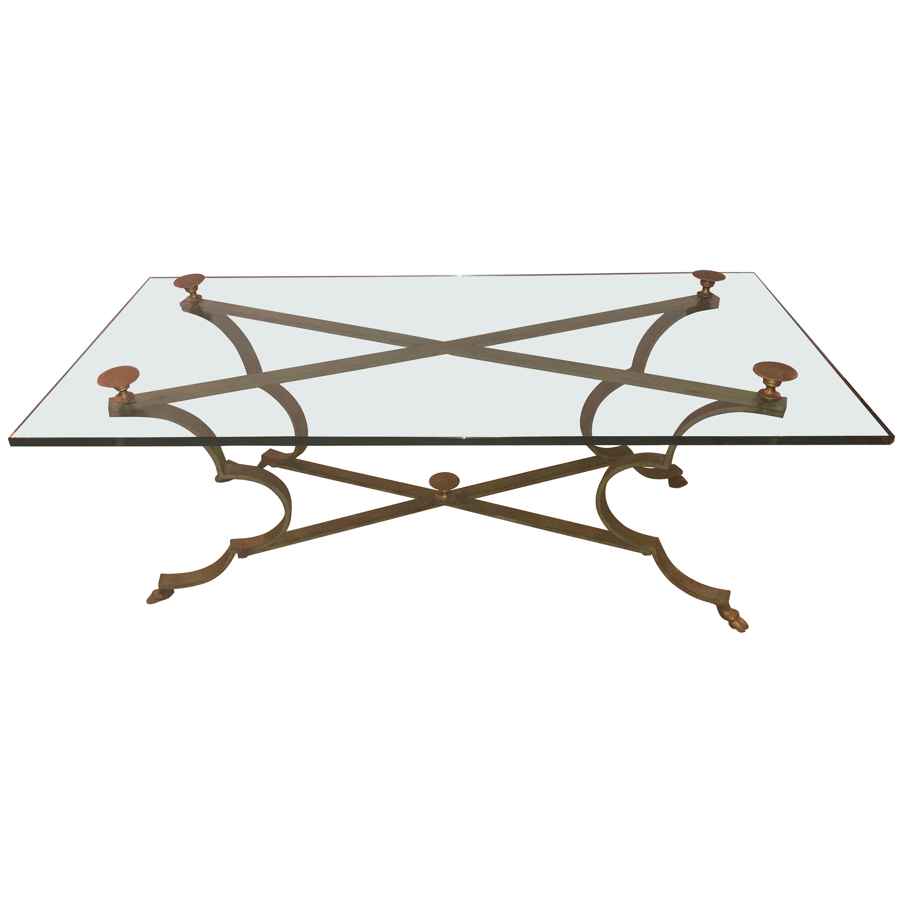 Well Known Gilt Brass And Iron Neoclassical Style Low Or Coffee Table For Sale Pertaining To Intertwine Triangle Marble Coffee Tables (View 19 of 20)