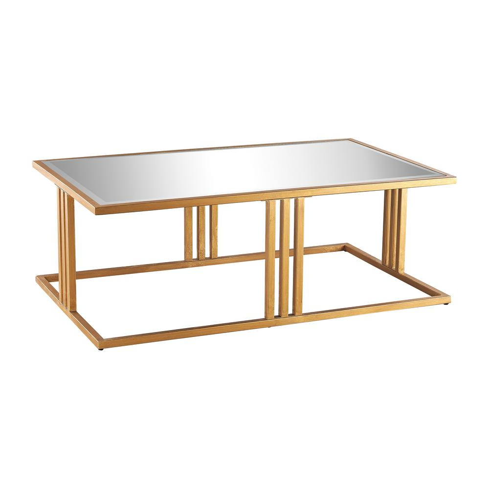 Well Known Gold Leaf Collection Coffee Tables Regarding Titan Lighting Andy Gold Leaf And Mirror Coffee Table Tn (View 2 of 20)