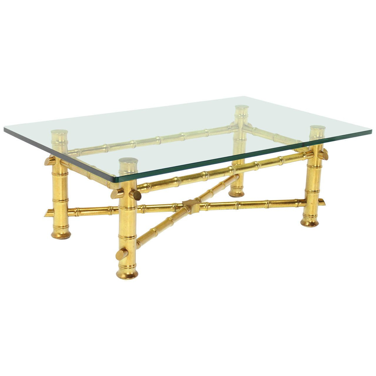 Well Known Gold Leaf Faux Bamboo Base Coffee Table With Thick Glass Top For Pertaining To Gold Leaf Collection Coffee Tables (View 19 of 20)