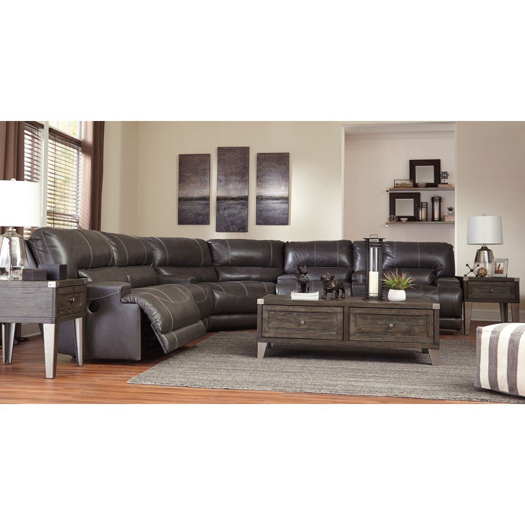 Well Known Gray Leather Reclining Sectional Within Clyde Grey Leather 3 Piece Power Reclining Sectionals With Pwr Hdrst & Usb (View 9 of 20)