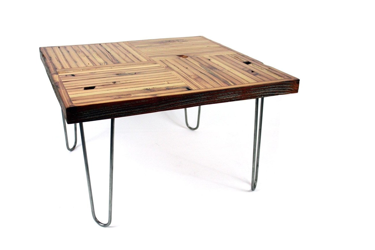 Well Known Hand Crafted 'block Parquet' Coffee Table // Reclaimed Wood Table Within Parquet Coffee Tables (View 14 of 20)