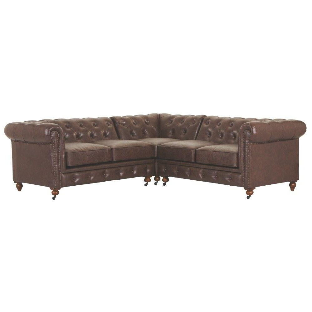 Well Known Home Decorators Collection Gordon 3 Piece Bonded Leather Brown In Gordon 3 Piece Sectionals With Raf Chaise (View 19 of 20)