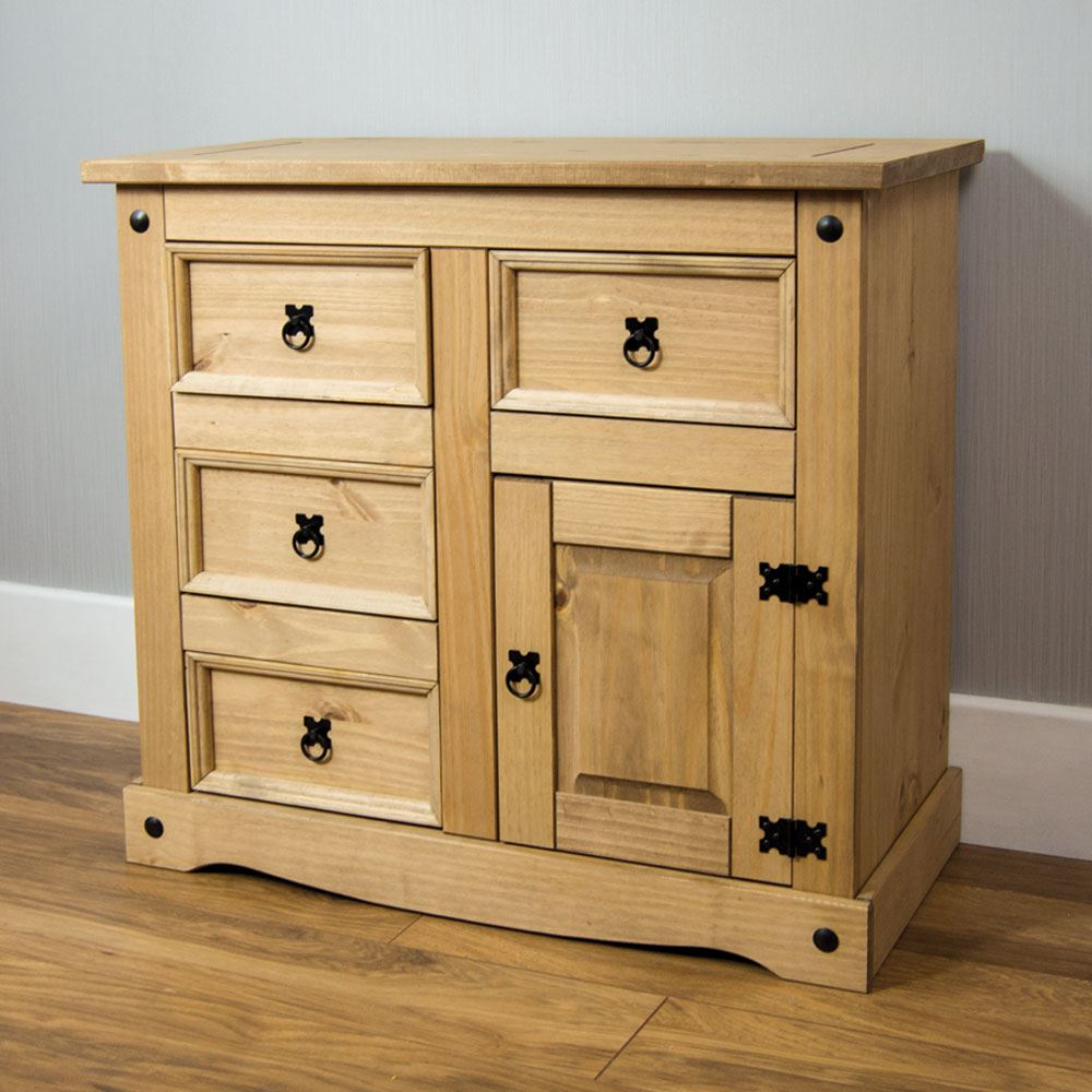 Well Known Iron Pine Sideboards Within Corona Small Sideboard 1 Door 4 Drawer Mexican Solid Waxed Pine (Gallery 6 of 20)