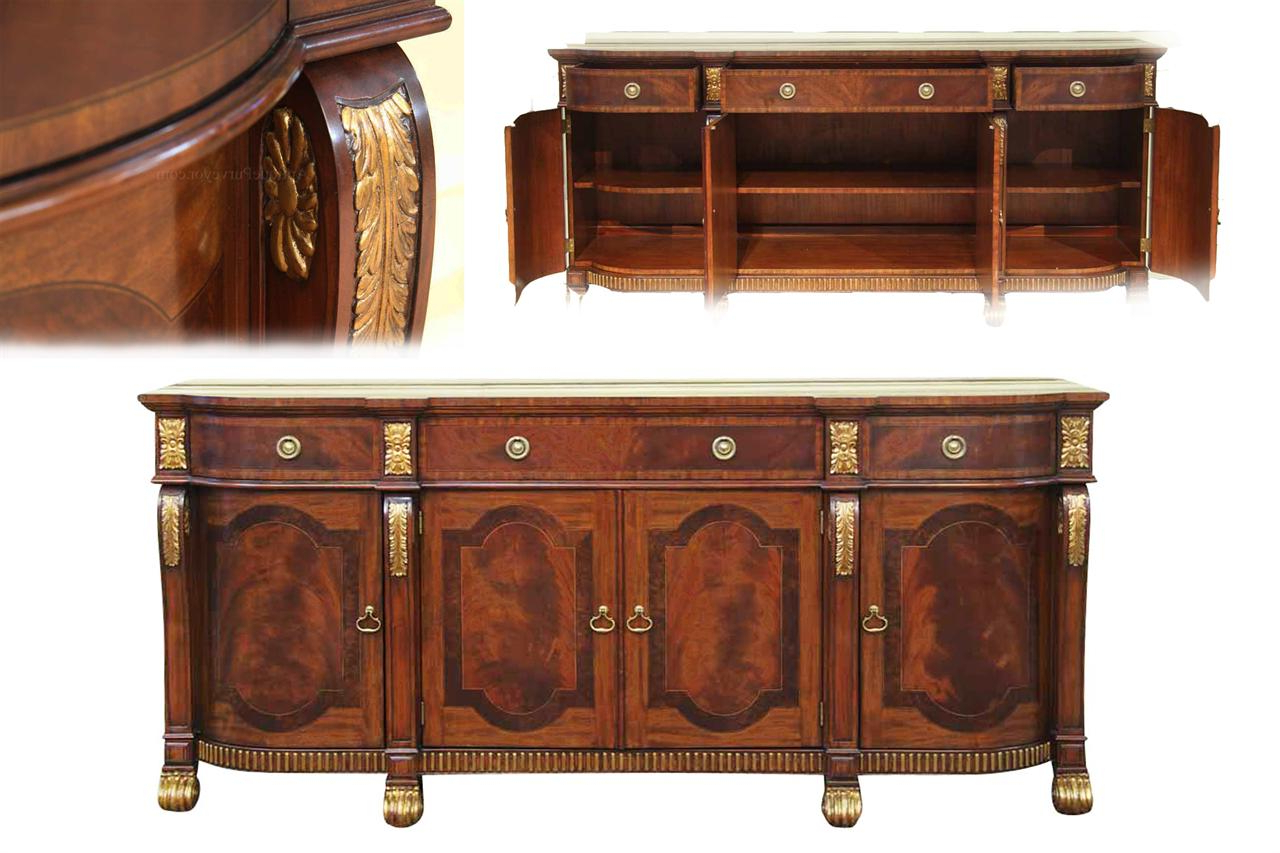 Well Known Mahogany Sideboard With Gold Leaf Accents For The Dining Room With 4 Door/4 Drawer Cast Jali Sideboards (View 20 of 20)