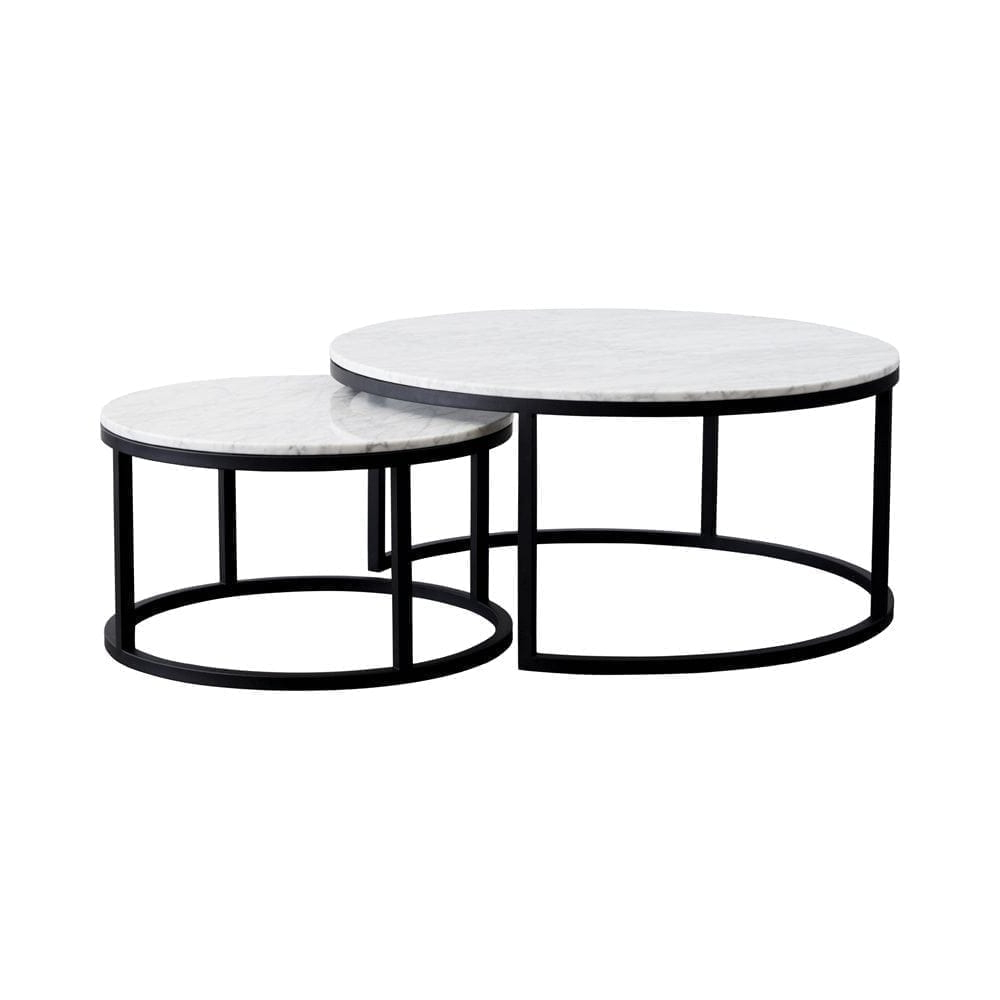 Well Known Marble Coffee Tables Intended For Modern Designer Round Nesting Marble Coffee Tables – Black Steel (View 15 of 20)
