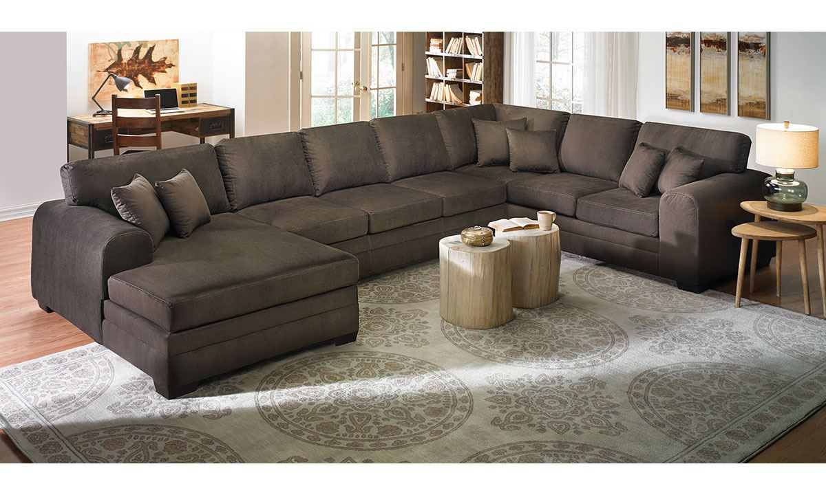 Well Known Norfolk Chocolate 6 Piece Sectionals With Raf Chaise Regarding Upholstered Sectional Sofa With Chaise (View 7 of 20)