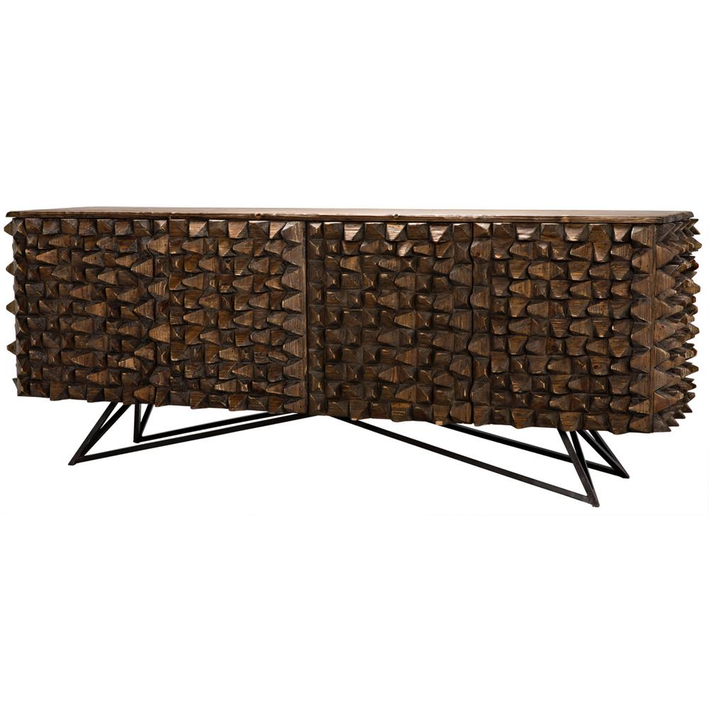Well Known Reclaimed Sideboards With Metal Panel Intended For Mersin Modern Rustic Reclaimed Chunky Wood Metal Sideboard Buffet (View 3 of 20)
