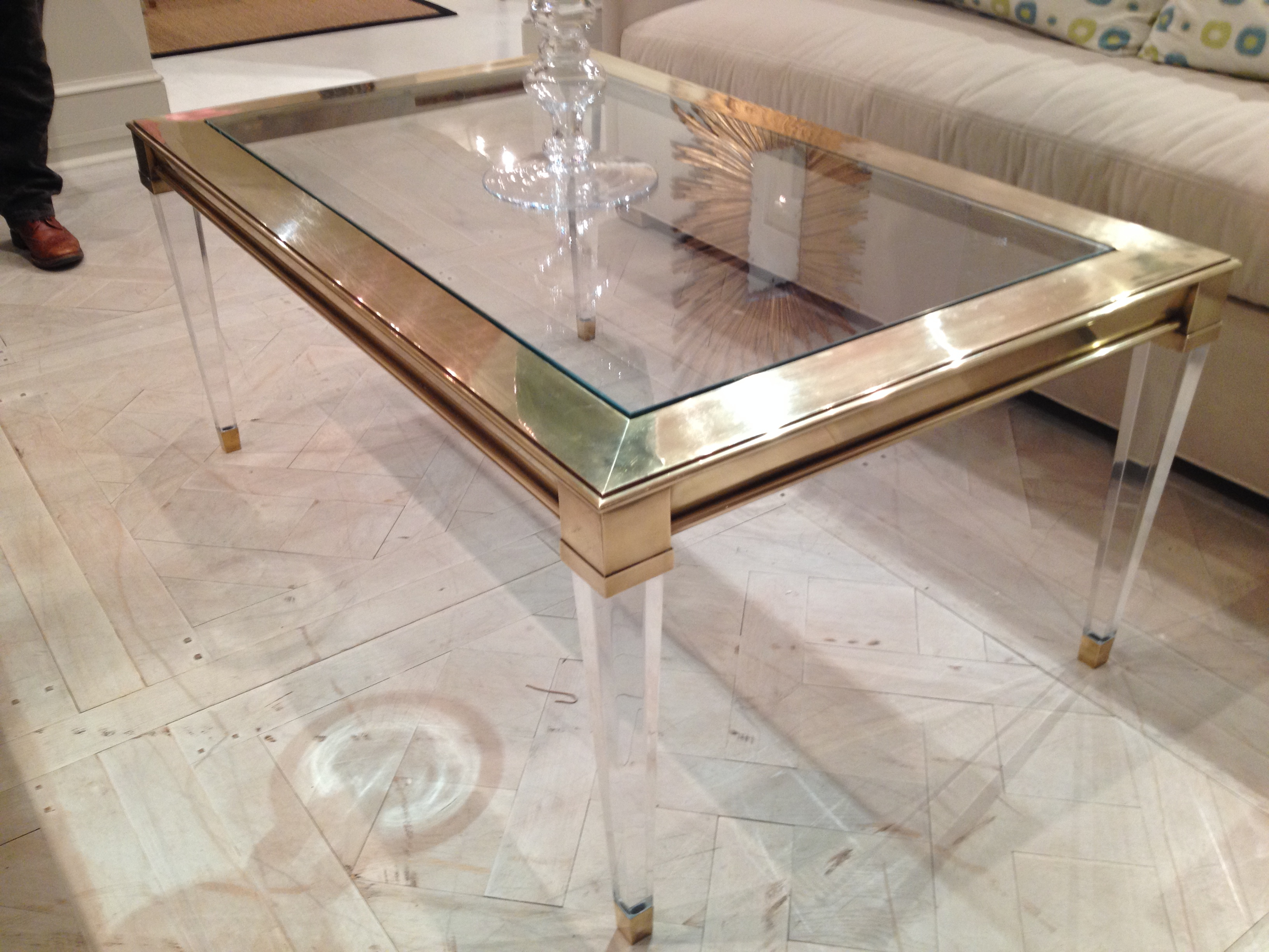 Well Known Rectangular Coffee Tables With Brass Legs Pertaining To Salma Acrylic And Brass Coffee Table – Mecox Gardens (View 15 of 20)