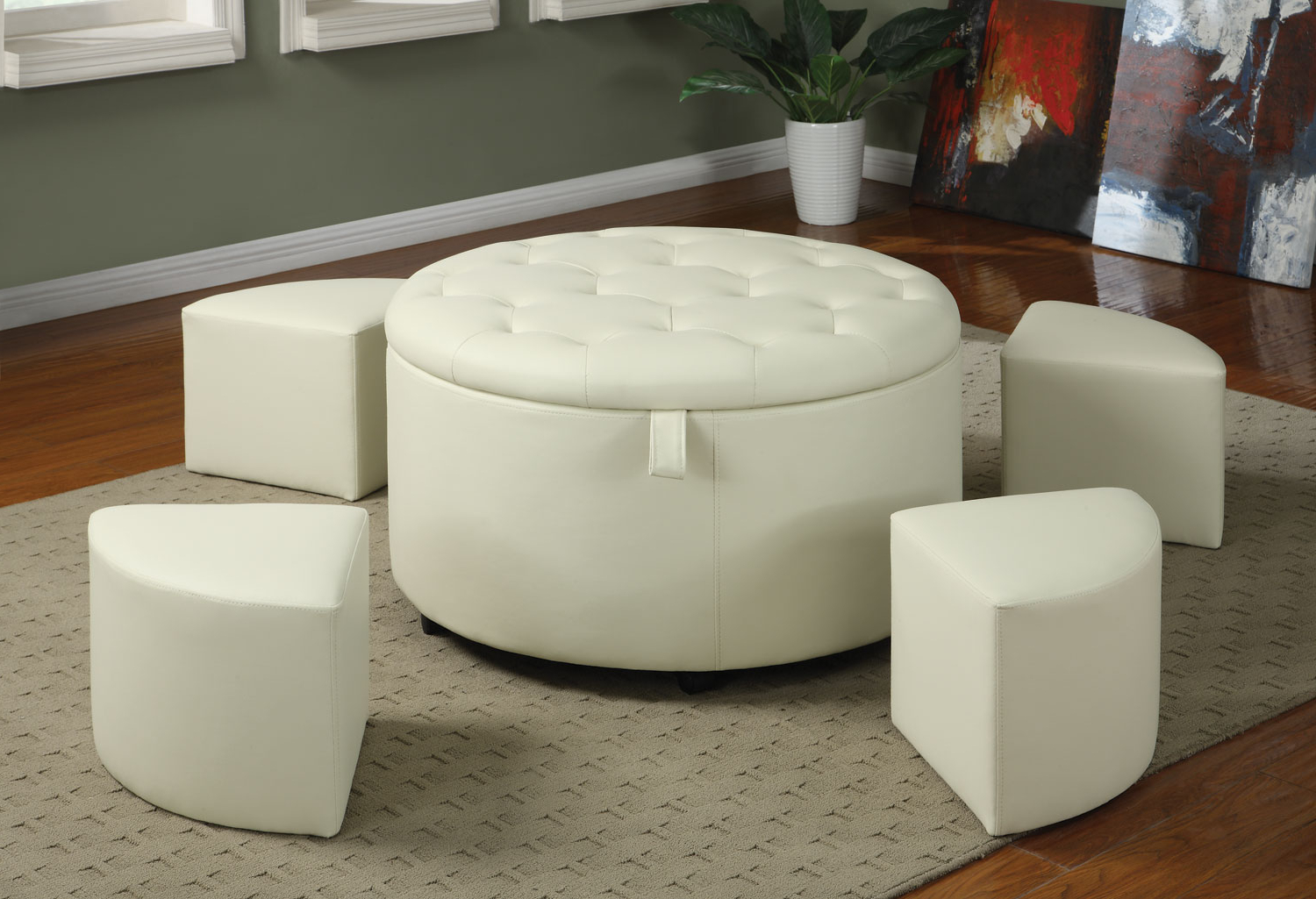 Well Known Round Button Tufted Coffee Tables With Regard To Awesome Large Ottoman Coffee Table Round Shape White Leather (View 5 of 20)