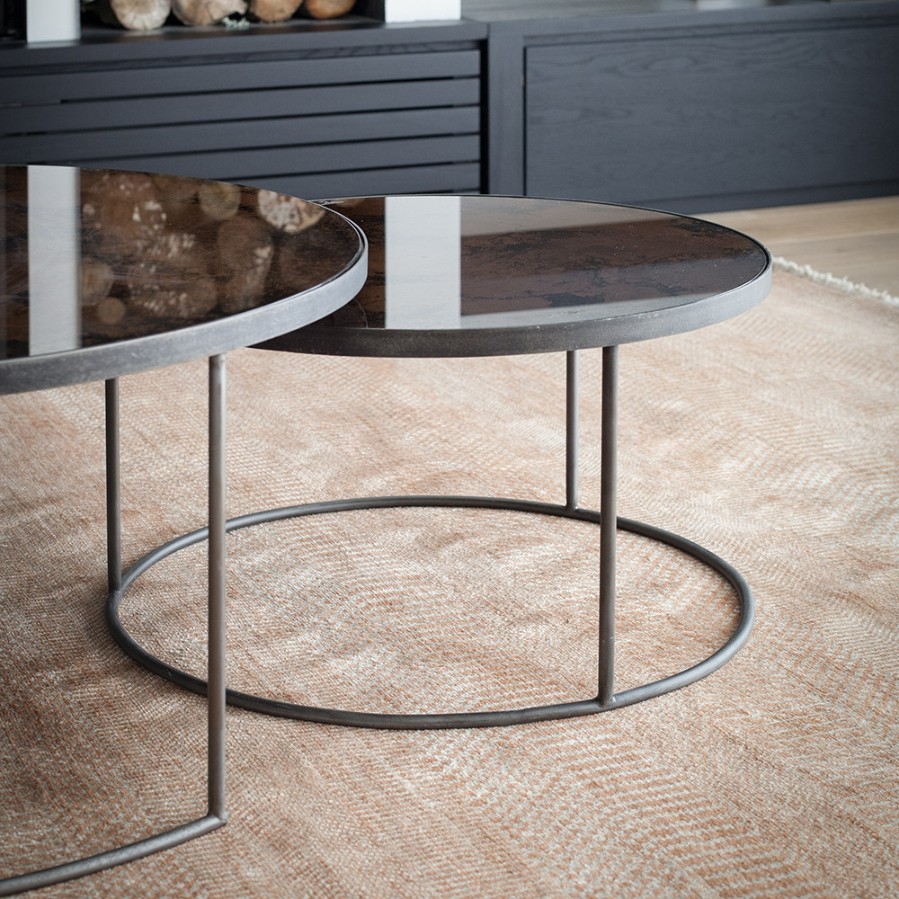 Well Known Set Of Nesting Coffee Tables Intended For Buy Bronze Heavy Aged Mirror Round Nesting Coffee Table Set Online (View 9 of 20)