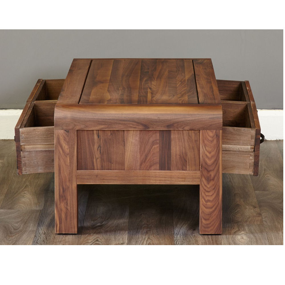 Well Known Walnut 4 Drawer Coffee Tables Inside Lounge Walnut Coffee Table 4 Drawers – Azura Home Style (View 20 of 20)