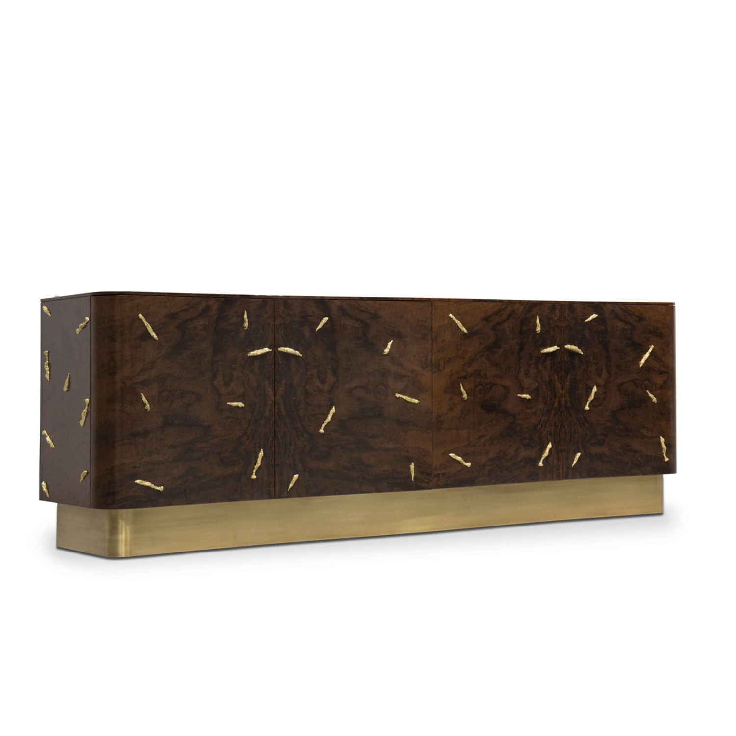 Well Known Walnut Finish Contempo Sideboards In Contemporary Sideboard / Walnut / Wood Veneer / Smoked Glass (View 19 of 20)