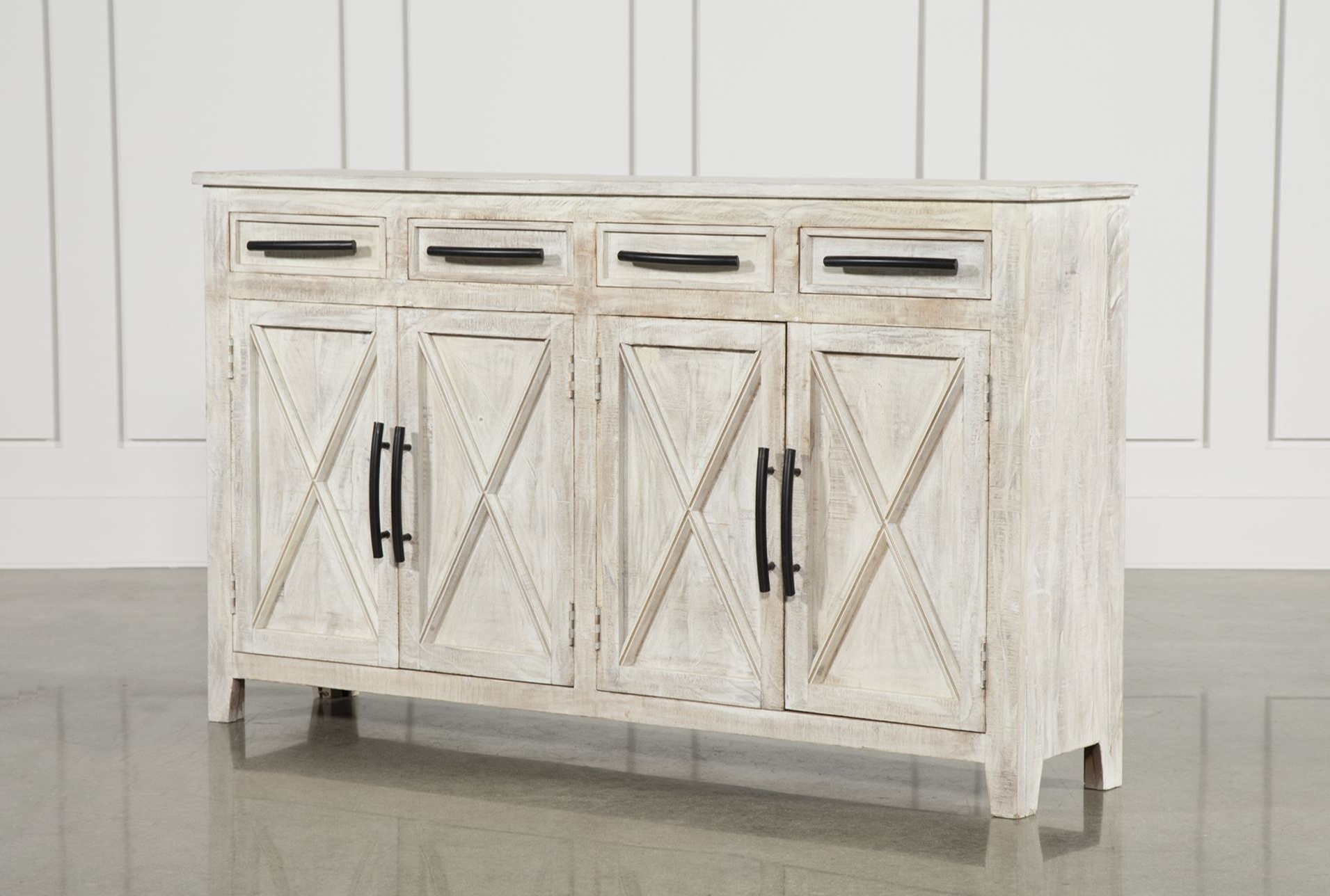 Well Known White Wash 4 Door Sideboards For White Wash 4 Drawer/4 Door 72 Inch Sideboard (Gallery 10 of 20)