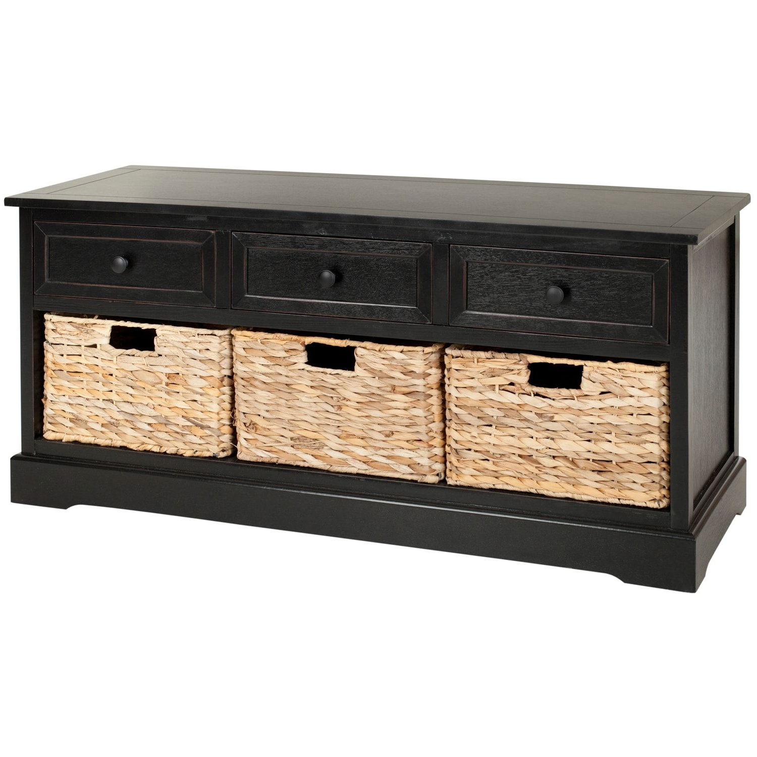 Well Known Wyatt Black 3 Drawer Storage Bench In  (View 16 of 20)