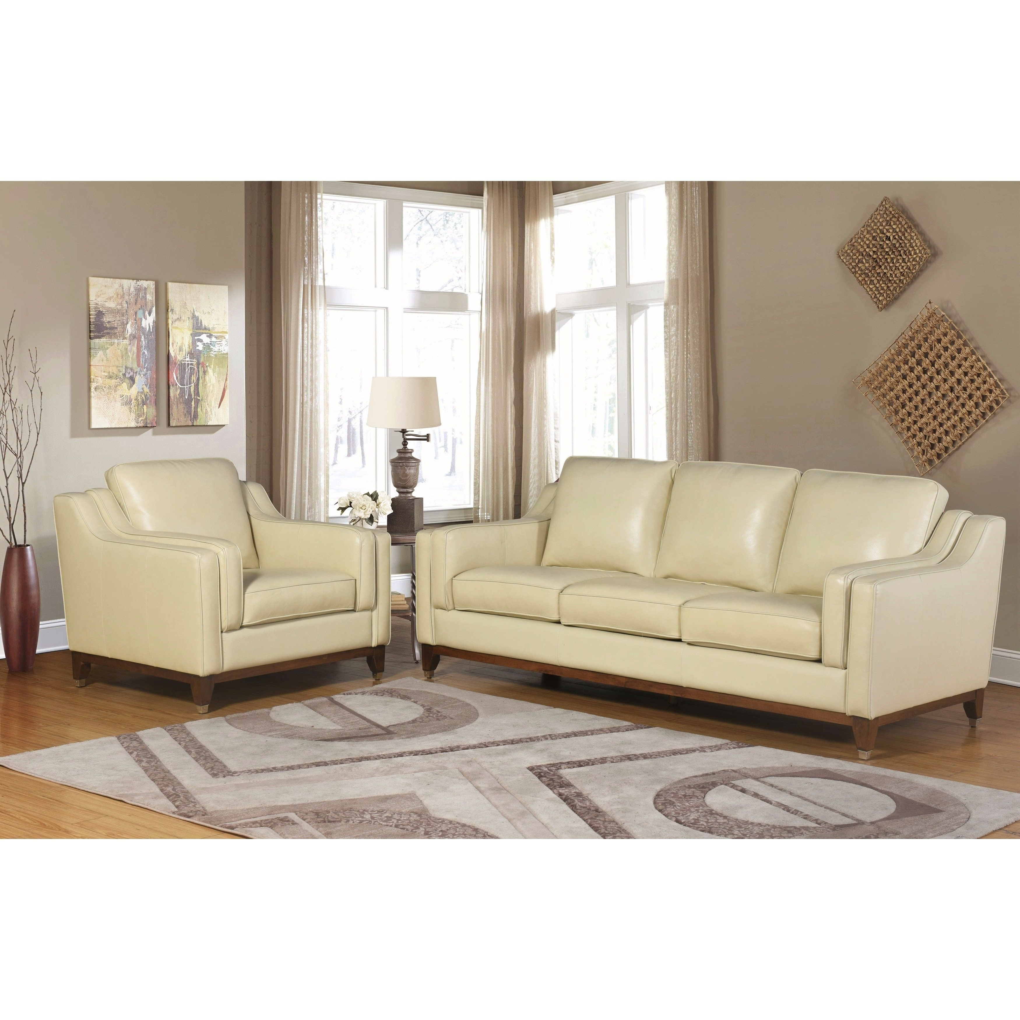 Well Liked Abbyson Allegra Cream (Ivory) Top Grain Leather 2 Piece Seating Set In Kristen Silver Grey 6 Piece Power Reclining Sectionals (View 20 of 20)