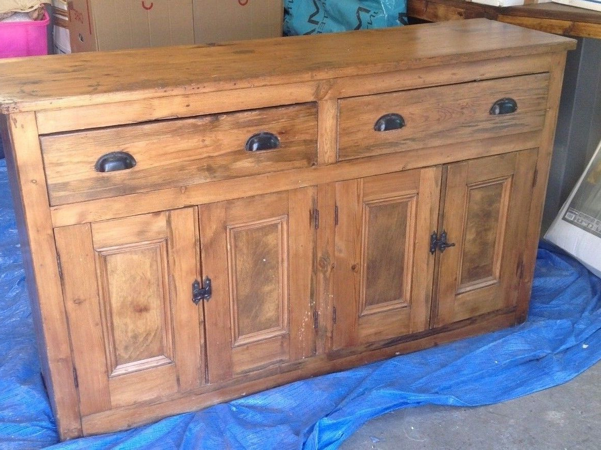 "Well Liked Aged Pine 3 Drawer 2 Door Sideboards Intended For Large Old Pine 4 Door, 2 Drawer, Dresser Base Sideboard 60"" X 36"" X (Gallery 20 of 20)"