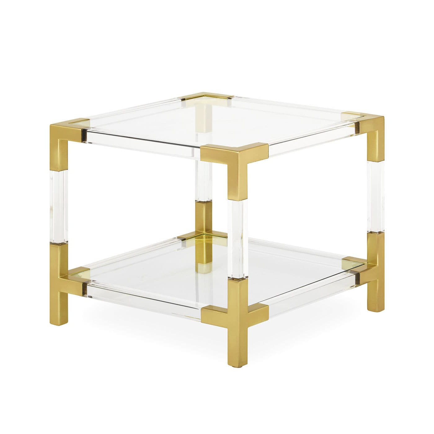 Well Liked Contemporary Side Table / Glass / Brushed Brass / Acrylic – Jacques With Acrylic & Brushed Brass Coffee Tables (View 12 of 20)