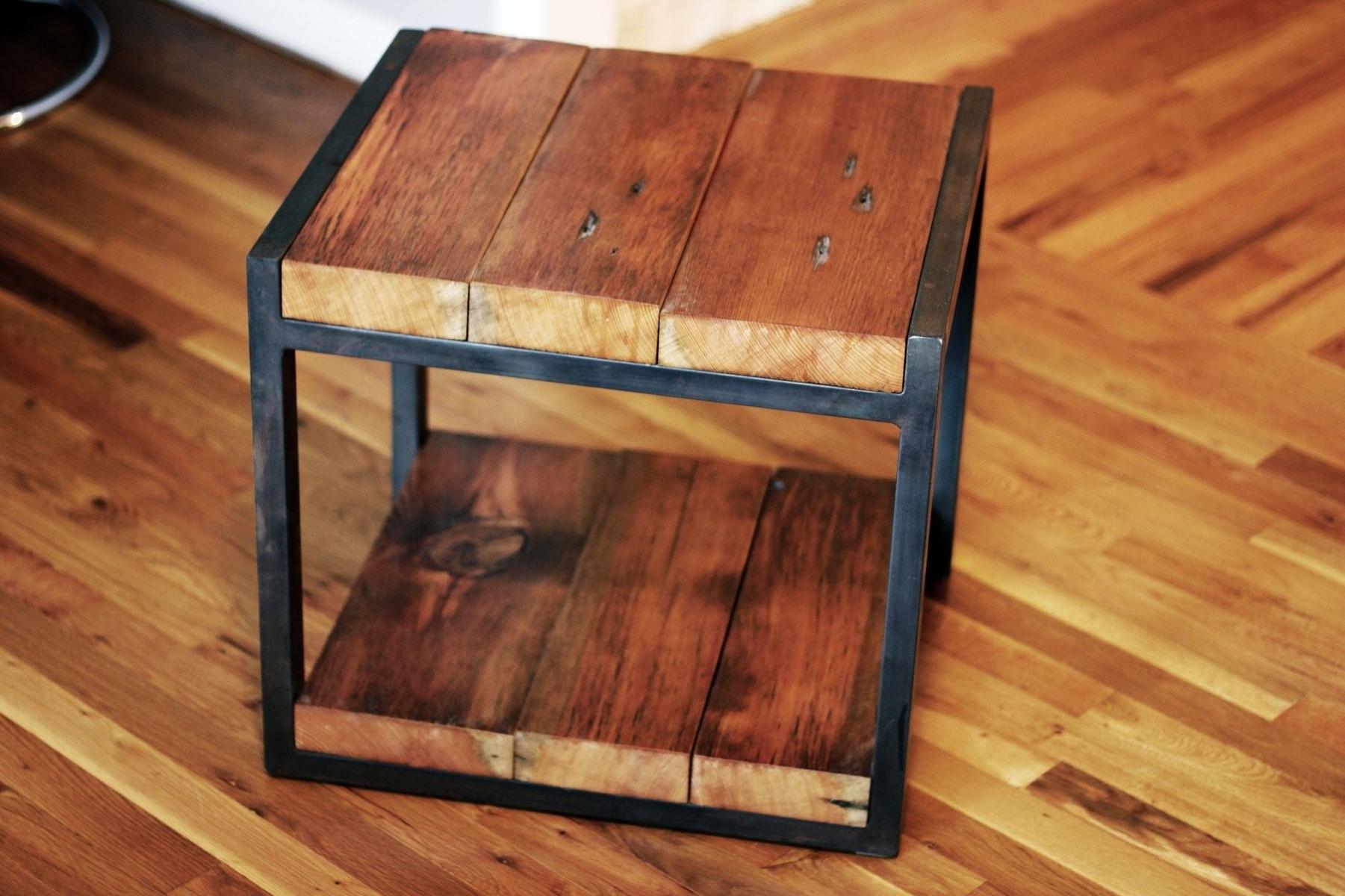 Well Liked Custom Reclaimed Wood, Steel Side Tablebarreto Studios For Metal Framed Reclaimed Wood Sideboards (Gallery 15 of 20)