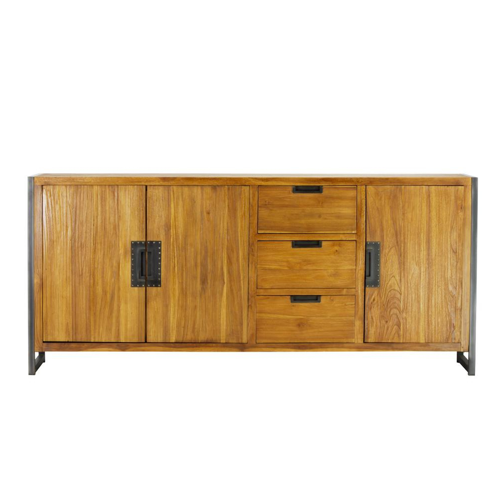 Well Liked Industrial 3 Drawer 3 Door Sideboards Intended For Lux Home Sumatra Industrial Metal Solid Natural Teak Wood Sideboard (View 9 of 20)